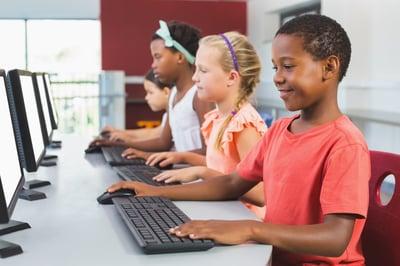 children in digital classroom