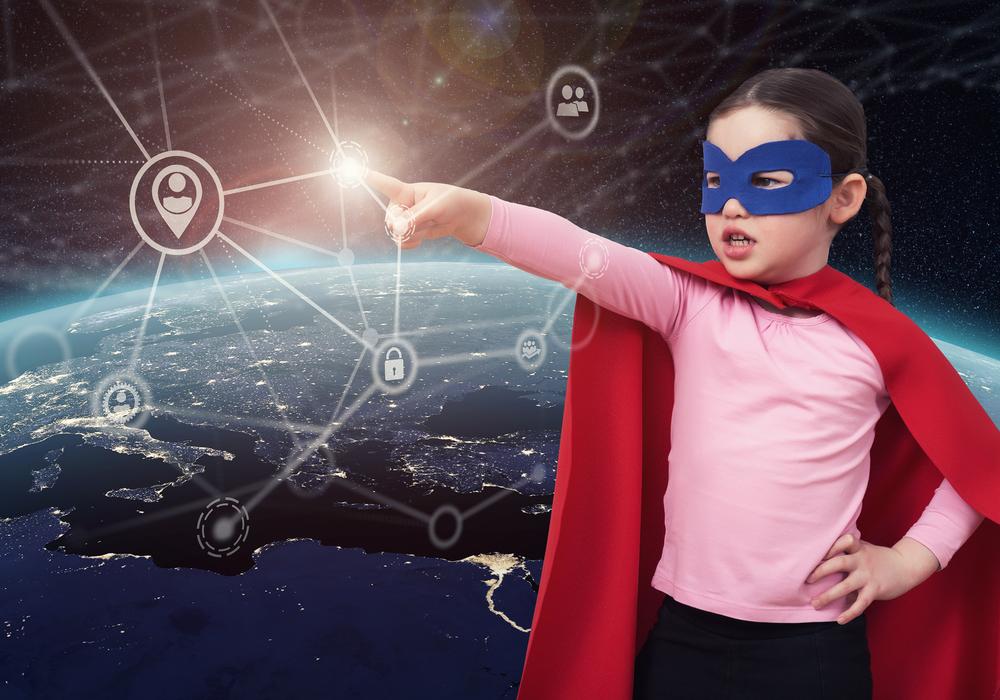 Little girl dressed up as super hero